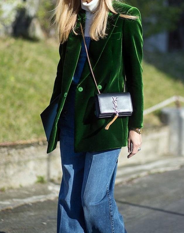 blazer veludo verde