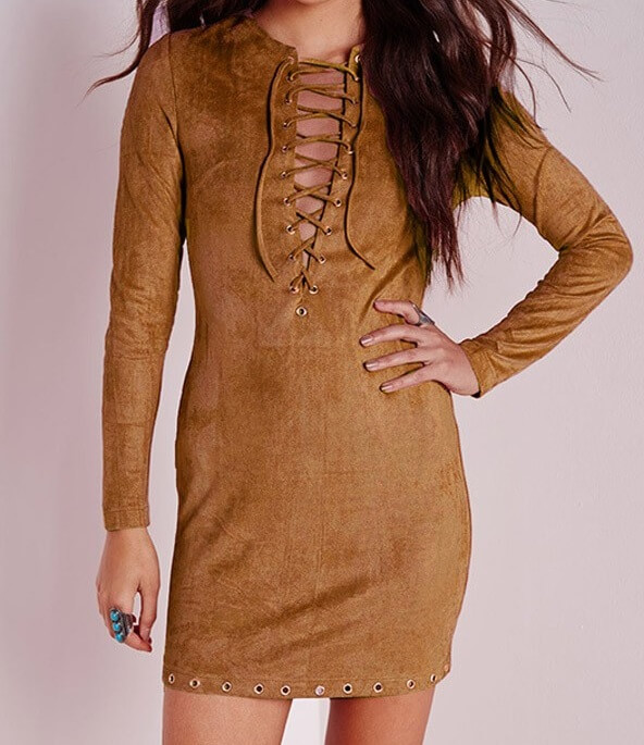 suede-lace-up-v-neck-long-sleeve-dress-023857