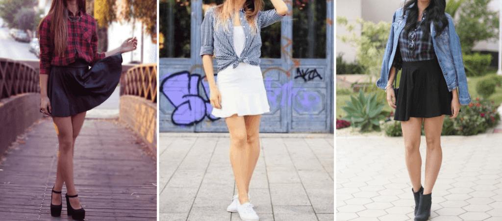 look camisa xadrez com saia e vestido